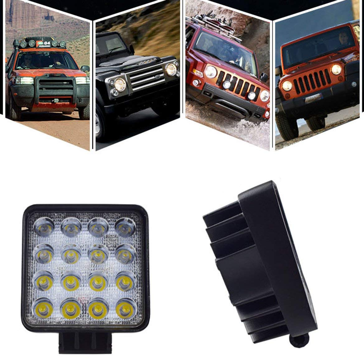 JohnJohnsen 48 W LED DRL - Luz Cuadrada Impermeable - Super Bright ...