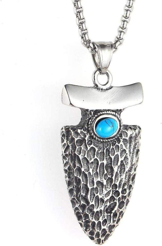 YANCONGCollar de Acero Inoxidable para Hombres Collar de Piedra de Turquesa Vintage Collar Colgante de Acero de Titanio
