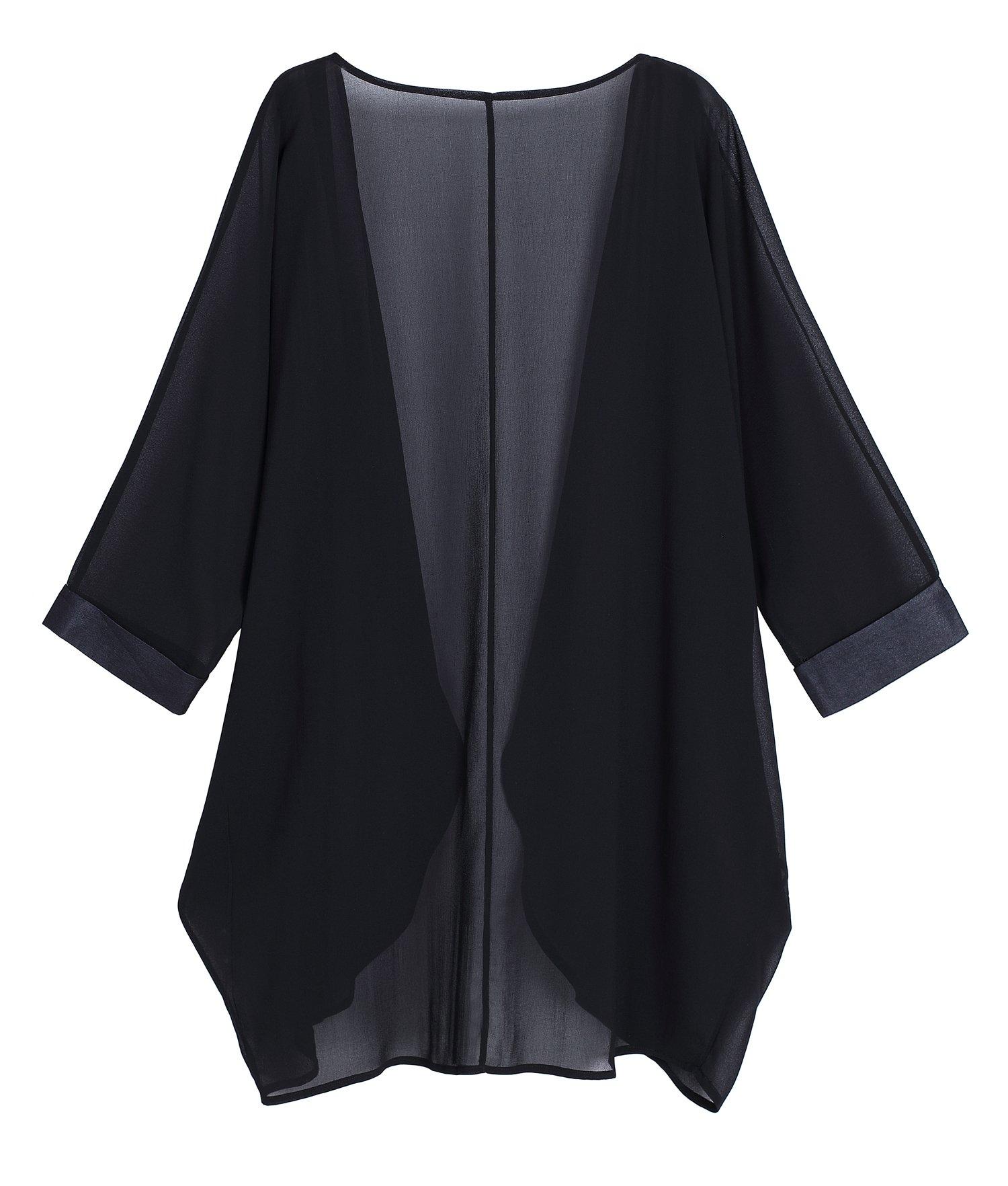 OLRAIN Women's Floral Print Sheer Chiffon Loose Kimono Cardigan Capes (X-Large, Black-1) by OLRAIN (Image #2)