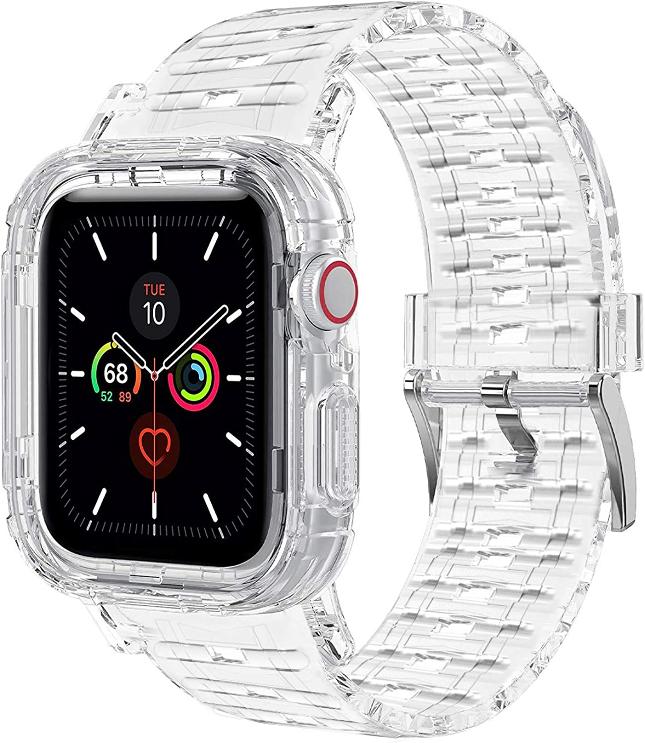 Clear Band for Apple Watch 38mm 40mm,Transparent Strap for Apple Watch Compatible with iWatch SE/6/5/4/3/2/1