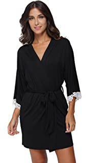 The Bund Women s Kimono Robe Soft Short Modal Cotton Bathrobe for Bride and  Bridesmaid with Lace 6c10a2307