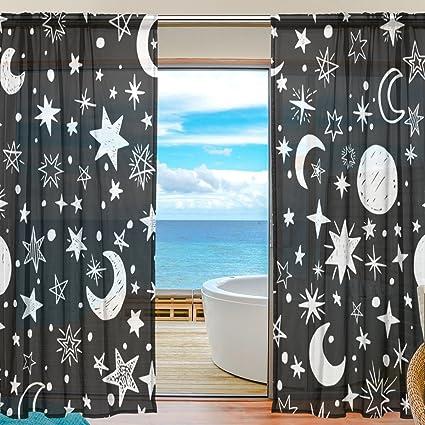 Amazon.com: JIUMEI Sheer Door Curtain Panels 55 Inch Wide x 84 Inch ...