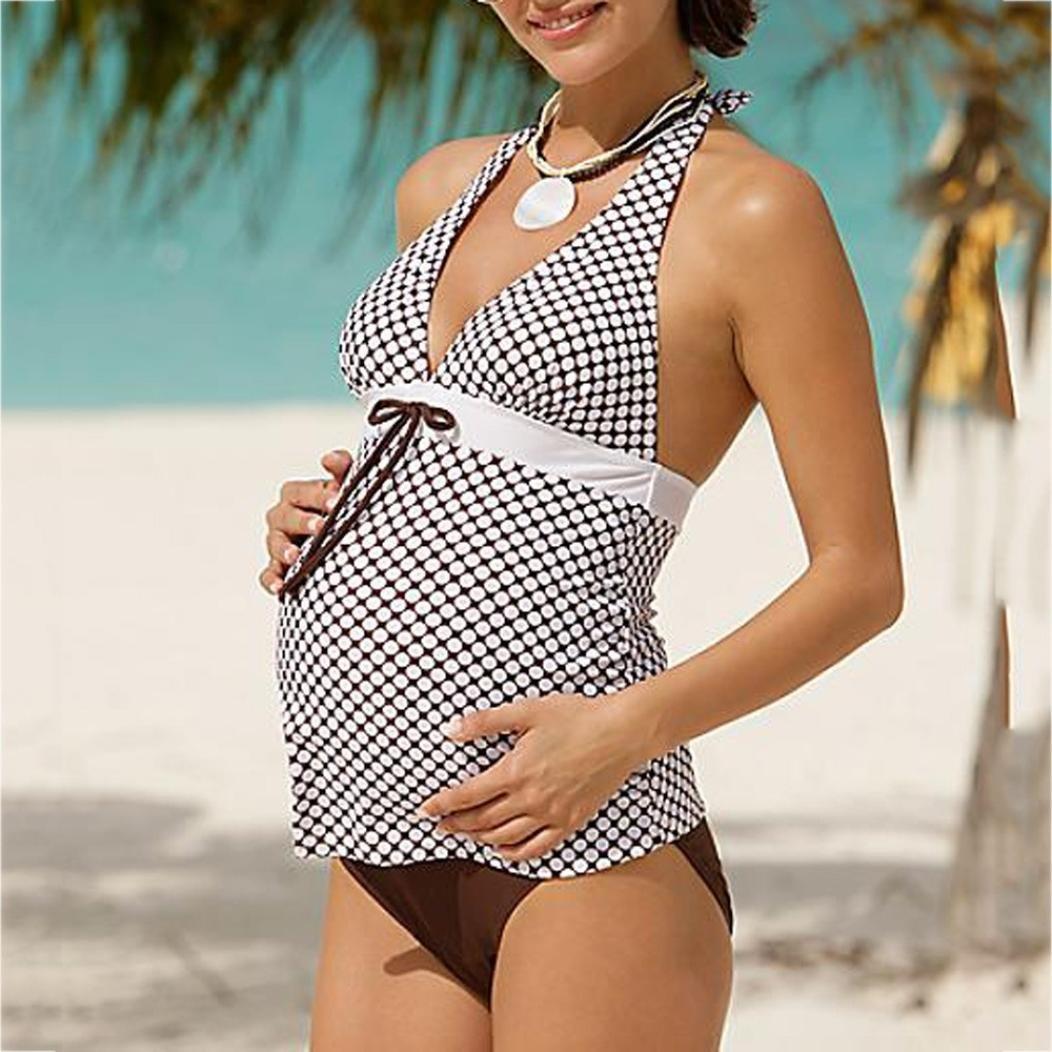 Smileq Tankini de grossesse Femme /à rayures Imprim/é Bikini Ensemble de maillot de bain 2/pi/èces Grossesse de natation