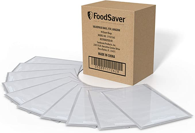 Amazon.com: FoodSaver 1-Quart Vacuum Sealer, Bags, 90 Count   BPA-Free, Commercial Grade for Food Storage and Sous Vide: Kitchen & Dining
