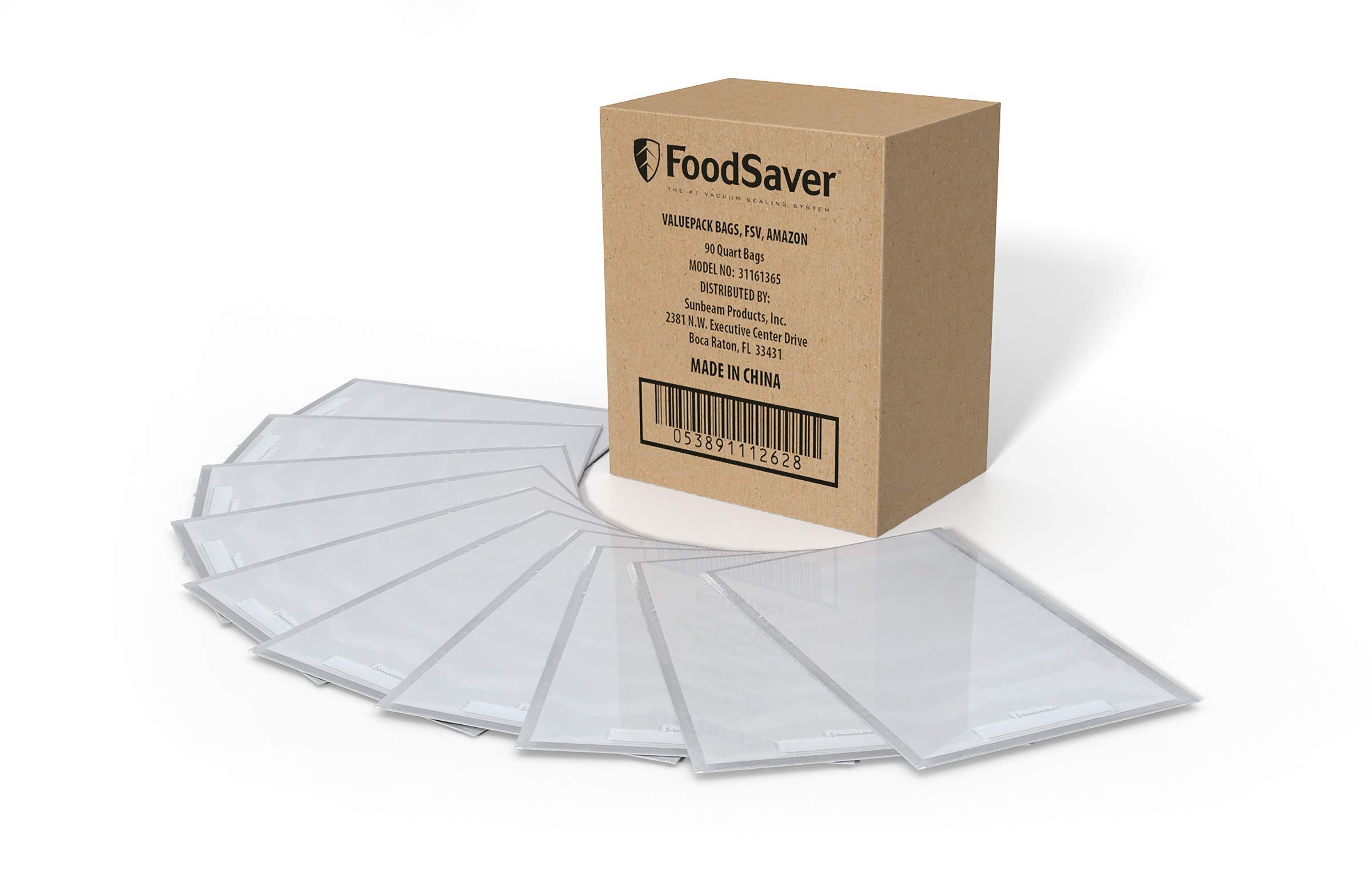 FoodSaver 1-Quart Vacuum Sealer, Bags, 90 Count | BPA-Free, Commercial Grade for Food Storage and Sous Vide by FoodSaver