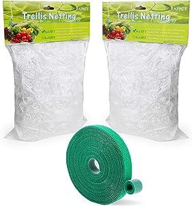 EAPFCT Trellis Netting 5x15ft 2 Pack Heavy-Duty Polyester Plant Support Trellis Net for Climbing Plants Garden Trellis Netting 6'' Mesh with Garden Ties