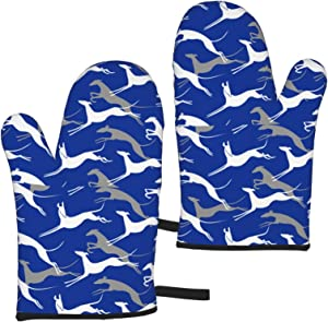 Jumping Greyhounds Blue Grill Oven Mitts Heat Resistant Gloves Waterproof Non-Slip Thick Mitt Kitchen Decor Accesories for Baking Cooking Grilling BBQ Microwave Toaster