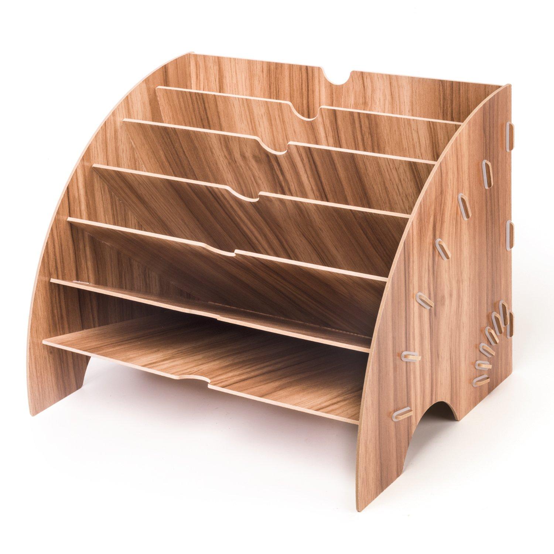Archiviazione di File in Legno, Lesfit Wood Office Cancelleria da Scrivania Espansione di riempimento Vassoio portaoggetti Organizer per A4 Carta, lettera, rivista e documento (6 Strati) EU Fan-shaped organiser