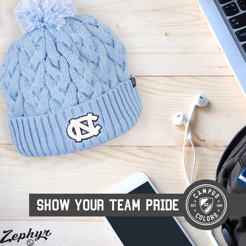 Zephyr Womens NCAA Ultra Soft Sherpa Knit Beanie