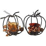 Autumn Pumpkin Metal & Glass Candle Holder 2-Piece Set