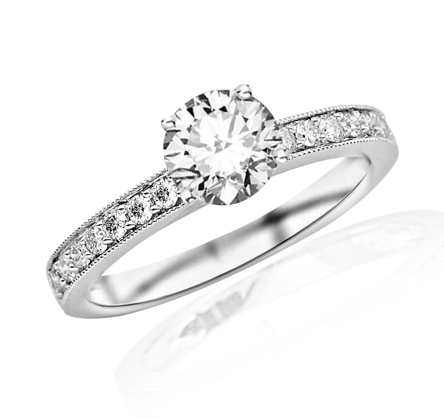 1.05 Carat Classic Side Stone Pave Set With Milgrain Diamond Engagement Ring 14K White Gold with a 0.75 Carat G-H SI2-I1 Round Brilliant Cut/Shape Center
