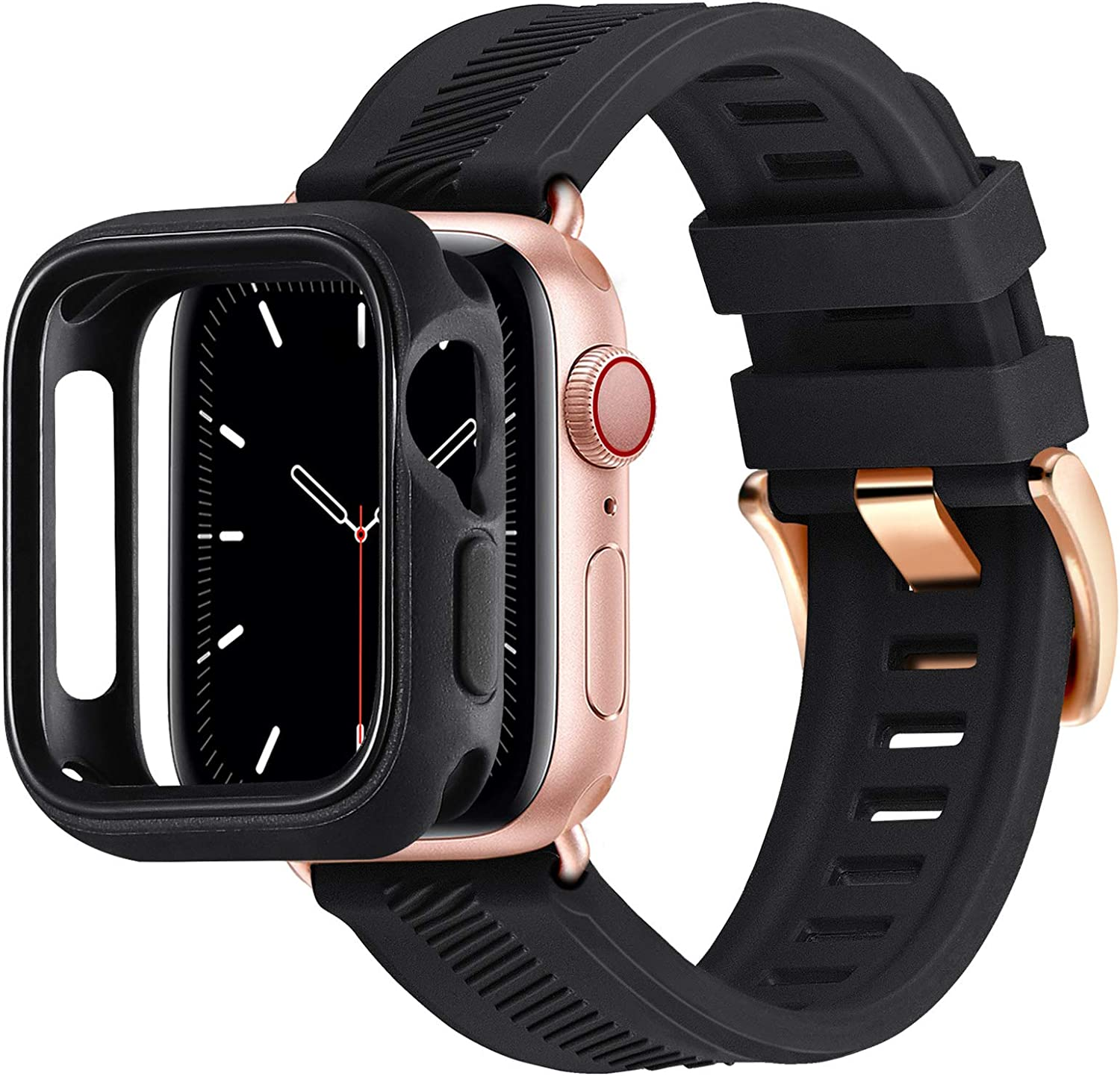 BesBand Compatible with Apple Watch Bands 44mm 42mm 40mm 38mm, Soft Silicone Waterproof Sport Band Loop with Protective Case for iWatch Series 6/5/4/3/2/1&SE (Black/Rose Gold, 38mm/40mm)