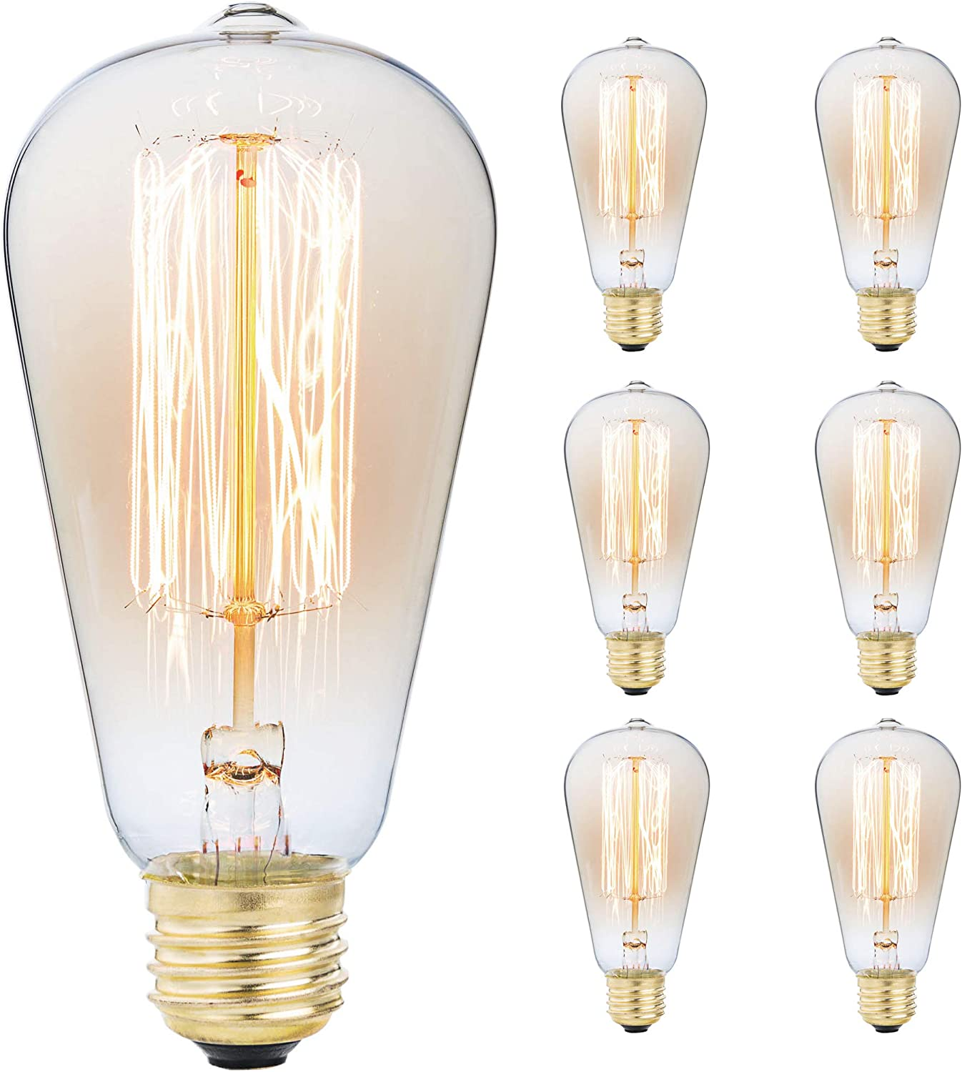 LOMT/™ 3-Pack 60W Warm Rustic Dimmable Light Bulb Squirrel Cage Filament Available in 1 3 and 6 Pack for Bar Restaurant Coffee Shop and Home Use Vintage Incandescent Edison E27 Electric Light