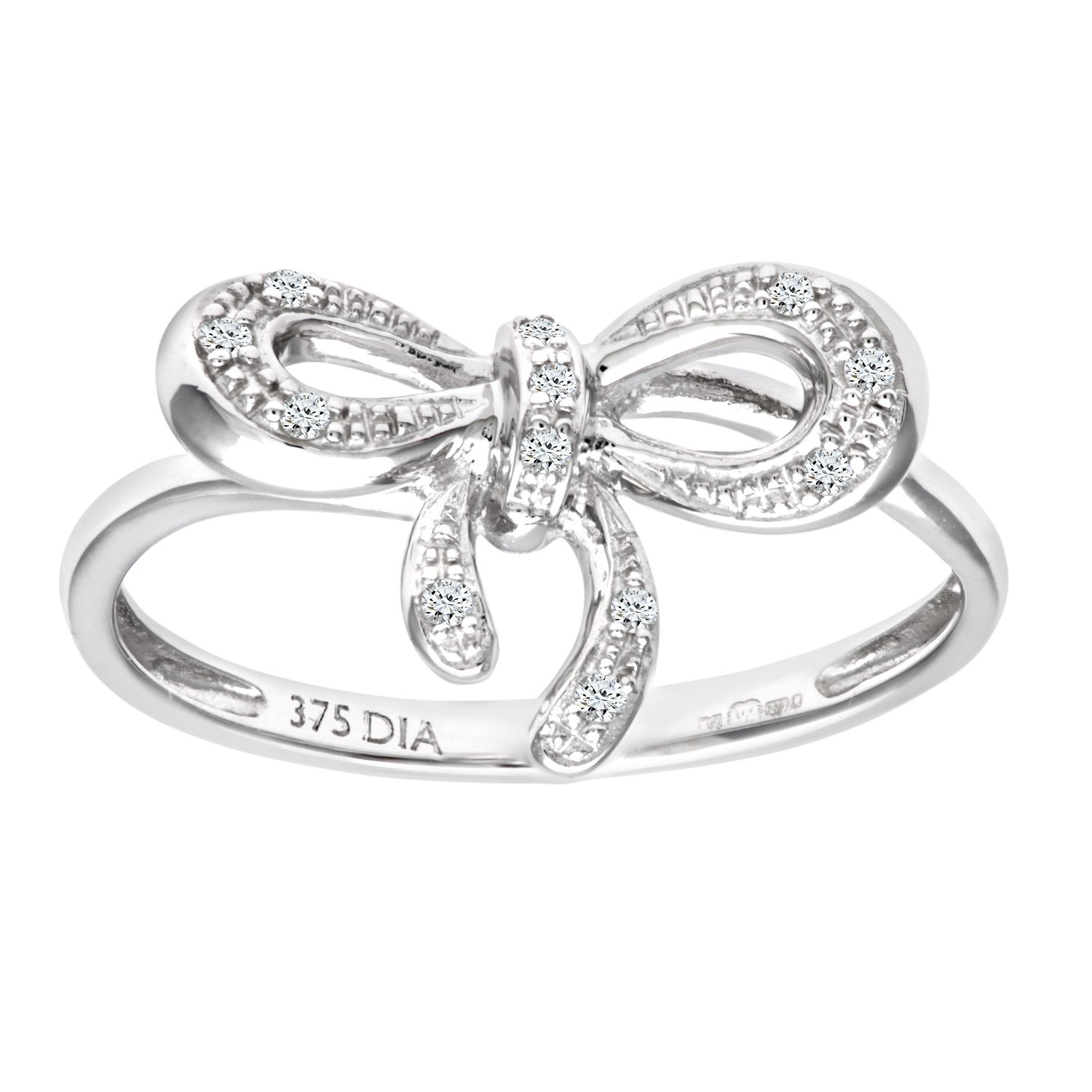 Naava Women s 9 ct White Gold Diamond Bow Ring Amazon