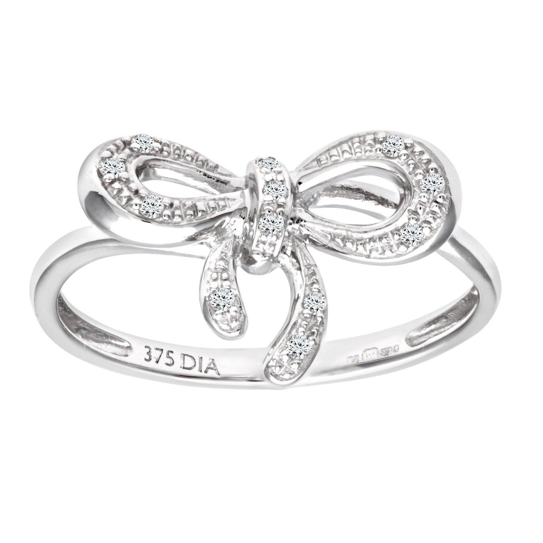 Naava Women s 9 ct White Gold Diamond Bow Ring Amazon