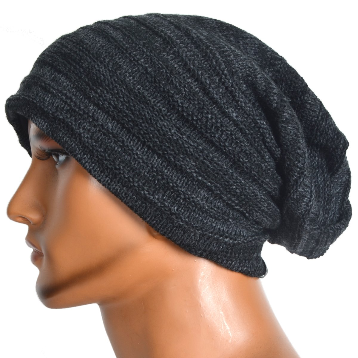 380f0af56b4 VECRY Mens Slouchy Knit Oversized Beanie Skull Caps Hat (Black) at Amazon  Men s Clothing store