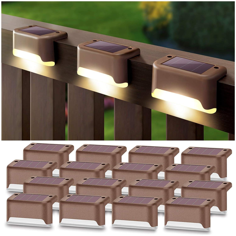 DenicMic Solar Deck Lights 16 Pack Fence Post Solar Lights