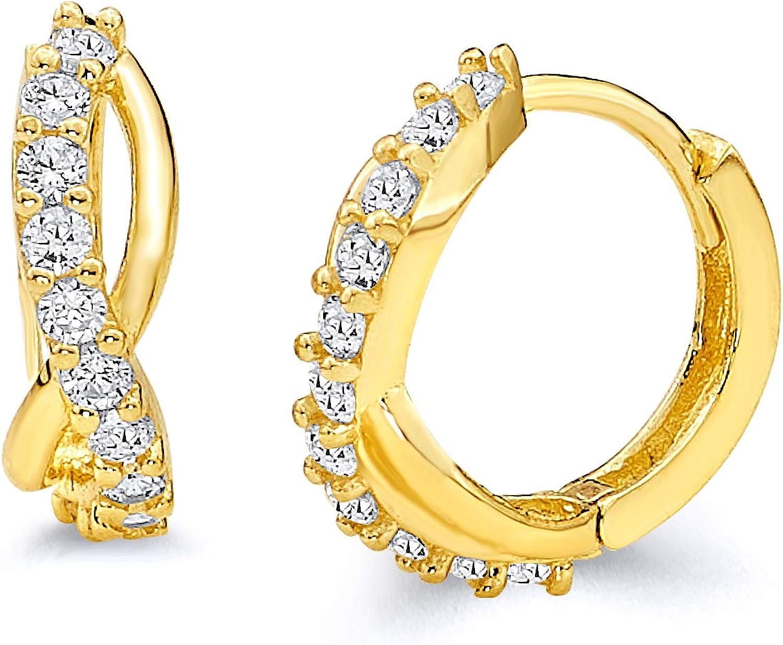 10 x 10 mm 14k Yellow Gold CZ Huggie Earrings