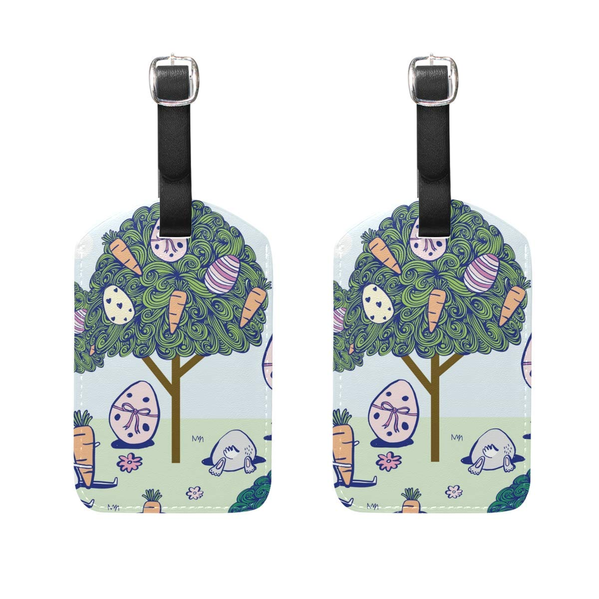 FunnyToiletLidCoverBB Easter Bunny Rabbit Egg Pattern Black Luggage Tag Women Men Personalized Kid Set of 2 Suitcase Label Travel ID Lady Handbag Tag with Buckle Leather
