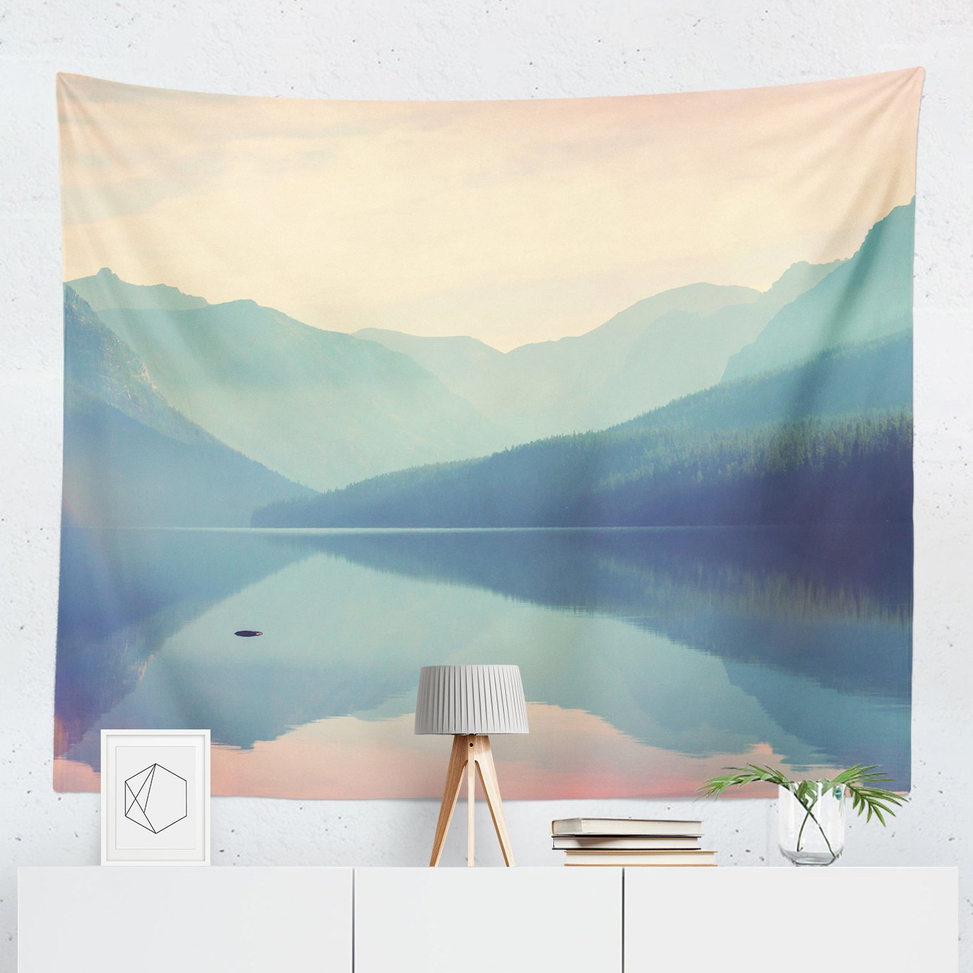 Lake Tapestry - Scenic Landscape Mountain Nature Wall Tapestries Hanging Décor Bedroom Dorm College Living Room Home Art Print Decoration Decorative - Printed in the USA - Small Medium Large Sizes
