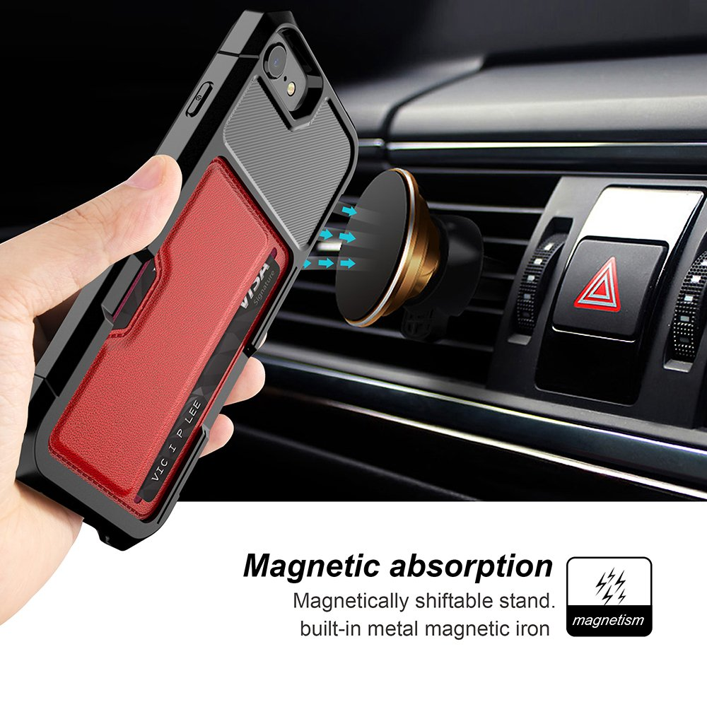 Trustforever Hard PC TPU Shockproof Case Magnetic Phone Holder for Car with Card Slot Heavy Duty Tough Armor Protective Case for iPhone 6//6S iPhone 6 Cover iPhone 6S Case Red