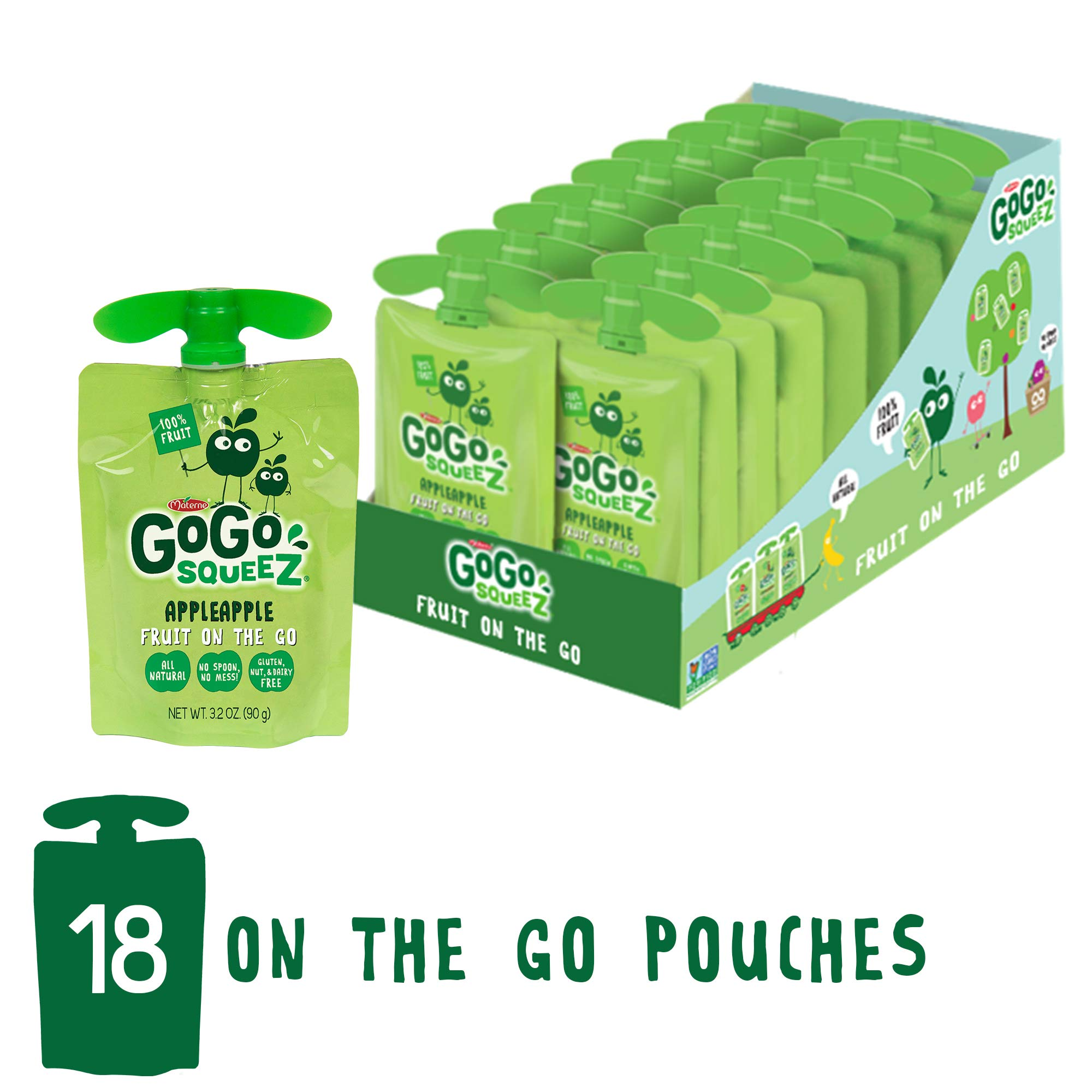 GoGo squeeZ Applesauce on the Go, Apple Apple, 3.2 Ounce (18 Pouches), Gluten Free, Vegan Friendly, Healthy Snacks, Unsweetened Applesauce, Recloseable, BPA Free Pouches by GoGo SqueeZ