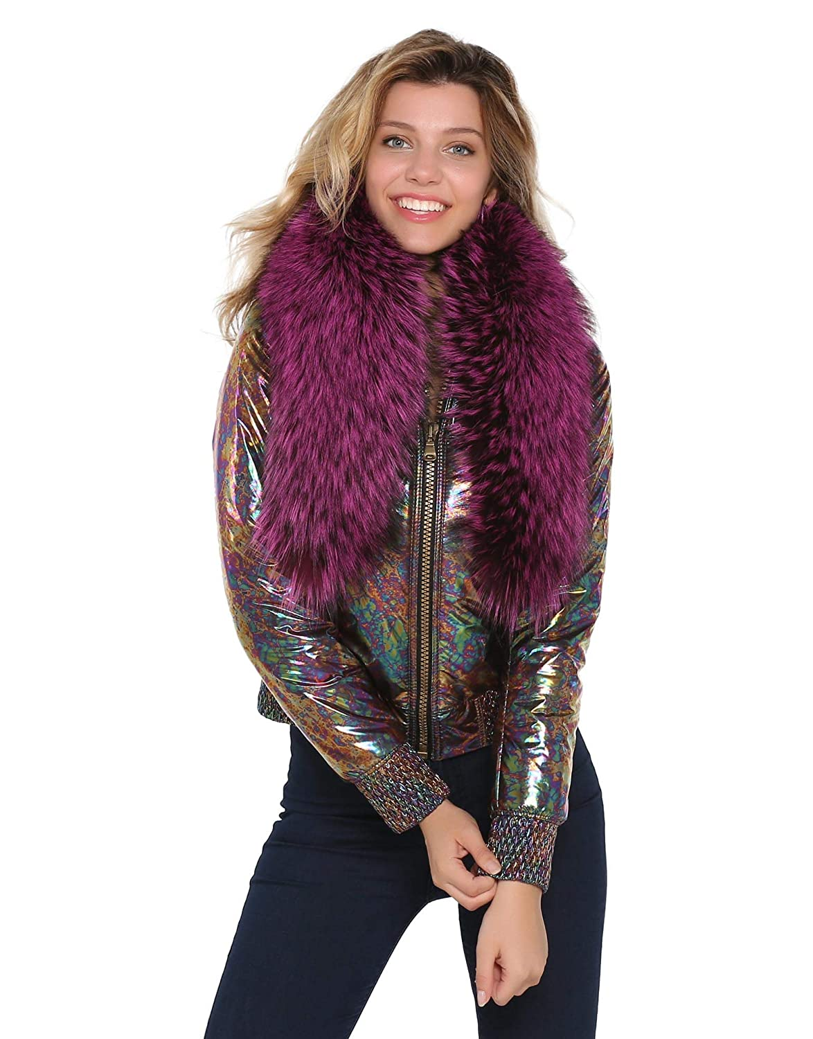 SELITE COLLECTION Metalic Abstract Flowery Fabric Woman Jacket with Real Fur