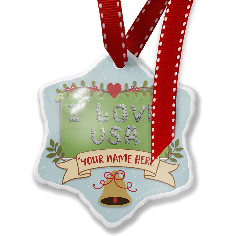 Add Your Own Custom Name, I Love Usa Spa Stones Rocks Christmas Ornament NEONBLOND