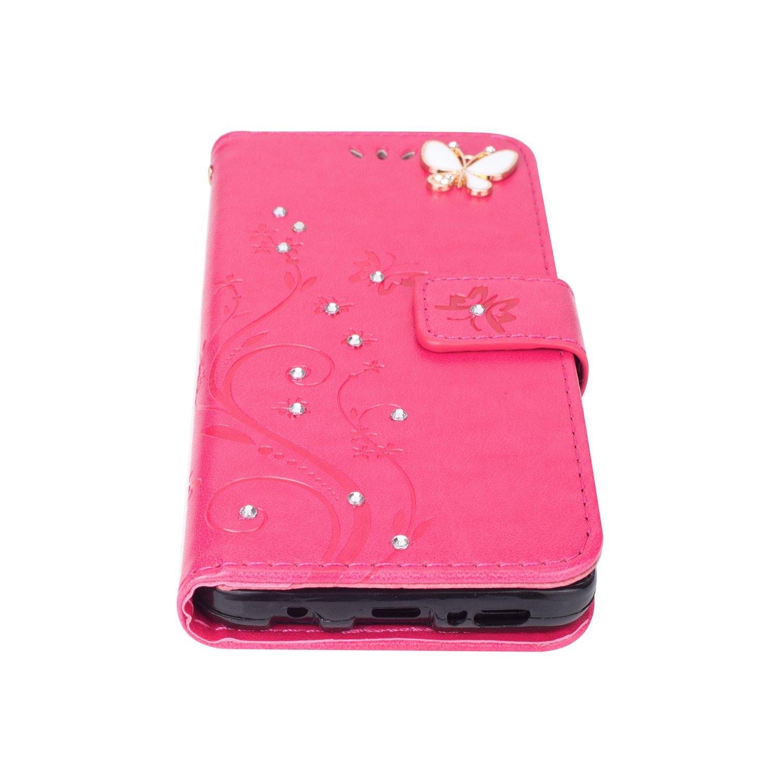 Karomenic kompatibel mit Samsung Galaxy J5 2016 PU Leder H/ülle Schmetterling Gl/änzend Glitzer Handyh/ülle Brieftasche TPU Silikon Schutzh/ülle Klapph/ülle Ledertasche Wallet Flip Case Etui,Rose rot