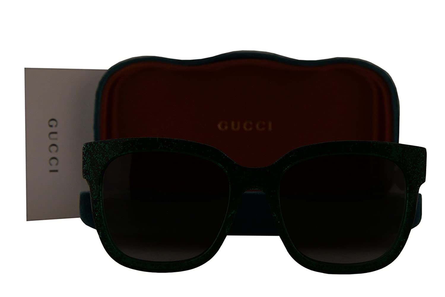 9c471df8b81 Gucci GG0034S Sunglasses Green w Brown Gradient Lens 007 GG 0034S  Amazon.co .uk  Clothing