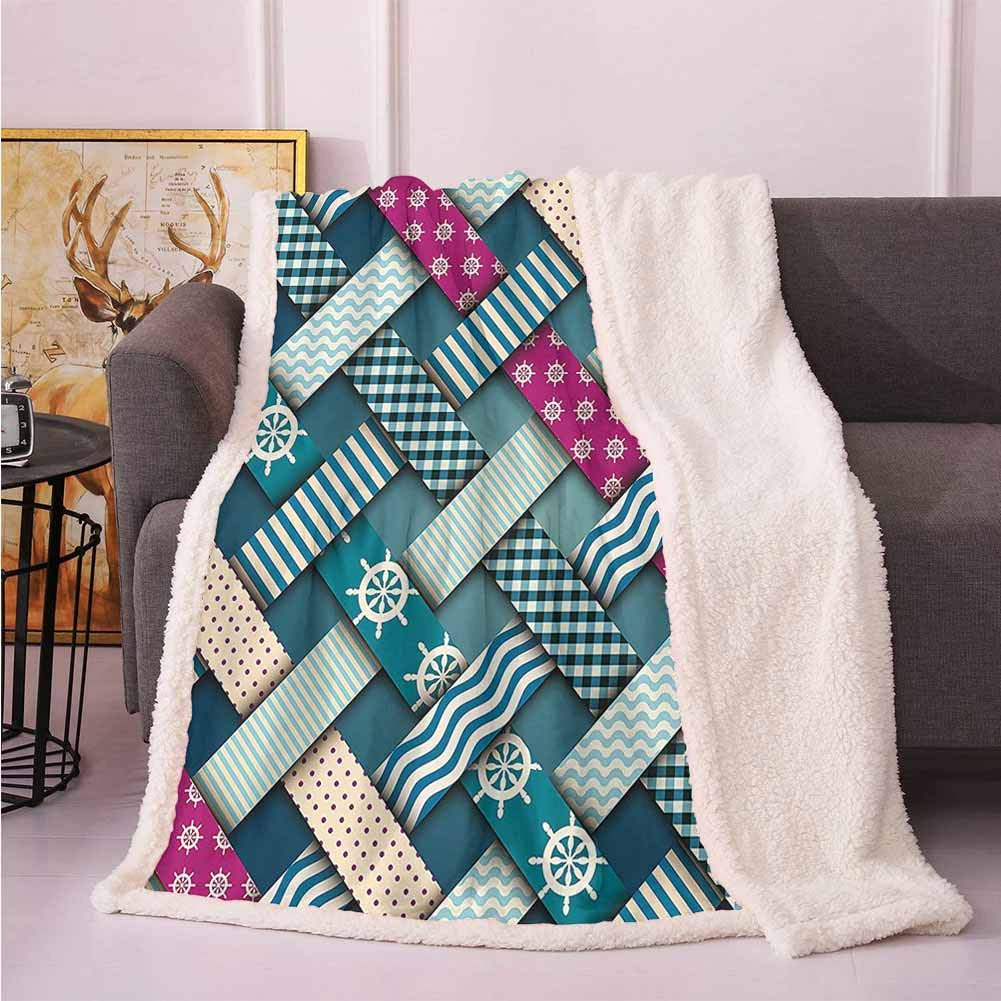 "Nautical Decor Soft Throw Blankets Marine Motif with Interweaving Patchwork Quilt Style Striped Lines Artwork Dog Blankets Fuchsia Teal 50""x60"""