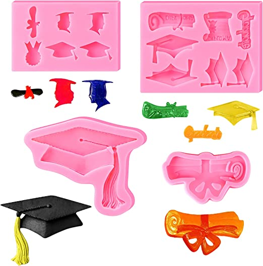 MIAHART 4 Pieces Graduation Chocolate Mold 7 Different Shapes of Decorations Cupcake Toppers Supplies Graduation Cap Mold Set Graduation Baking Fondant Candy Mold Party Supplies Candy Mold