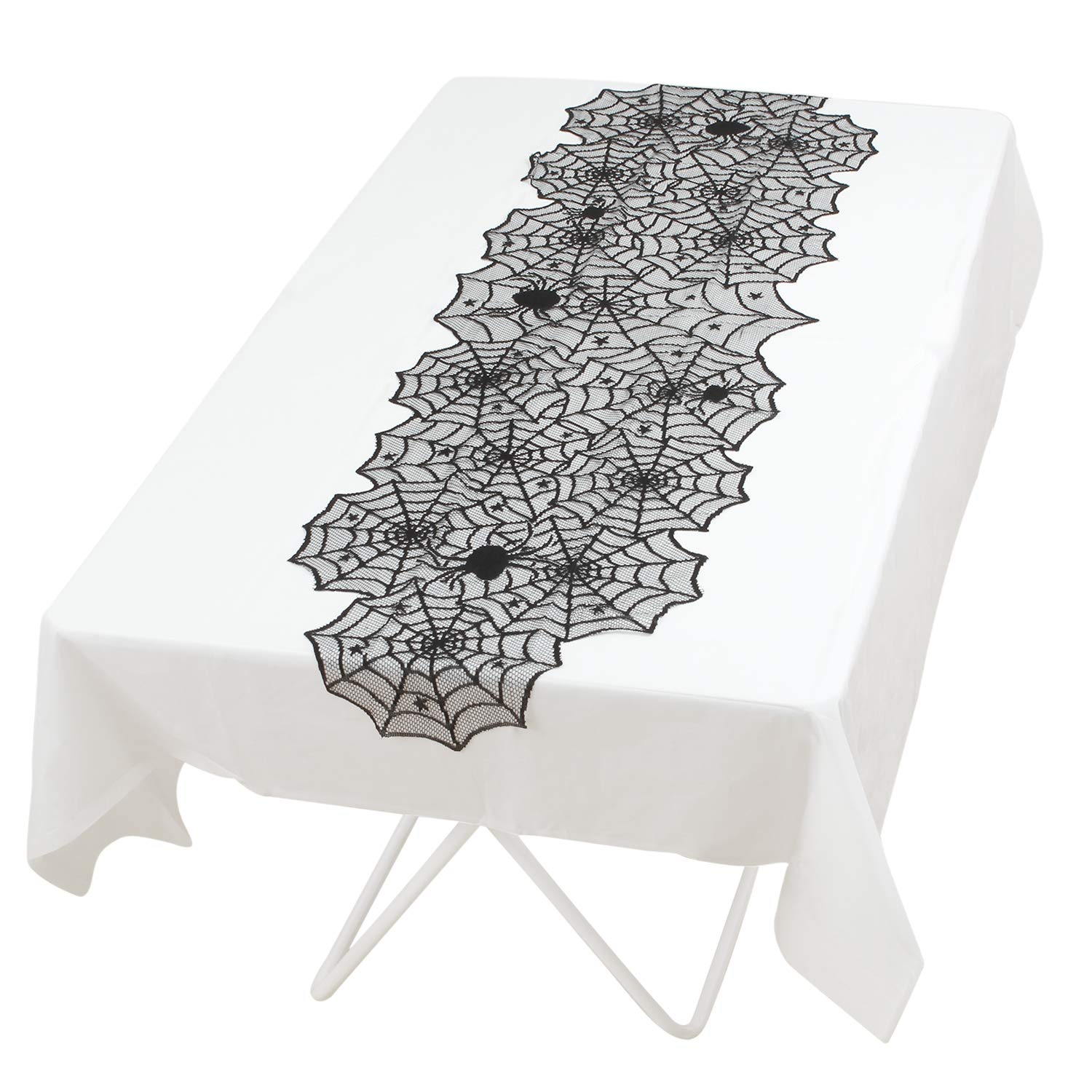 Elcoho 2 Pieces Black Lace Table Runner Set 18×72 Inch Black Spider Web Halloween Lace Table Cover for Halloween Table Decorations Including 1 Black Overlay 1 White Liner