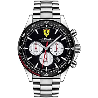 0b10201e3933 Reloj cronógrafo Hombre Scuderia Ferrari Pilota de Acero  Amazon.es  Relojes