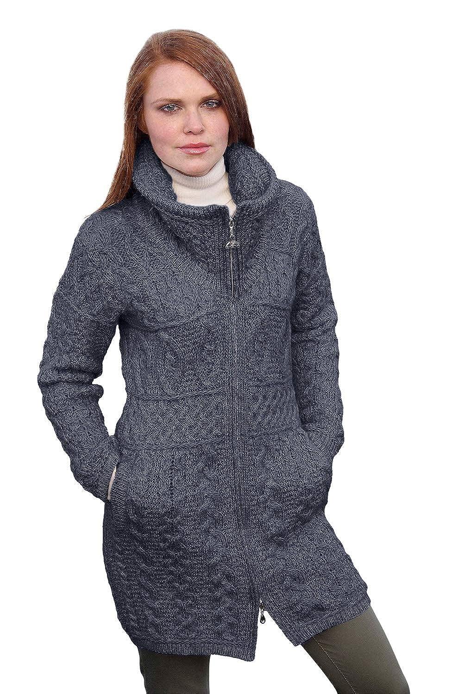 Image of Crafts Aran Crafts 100% Merino Wool Ladies Double Collar Coat Wine