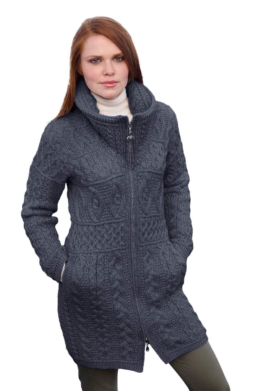 100% Irish Merino Wool Double Collar Aran Knit Coat, Charcoal, X-Small by Aran Crafts (Image #1)