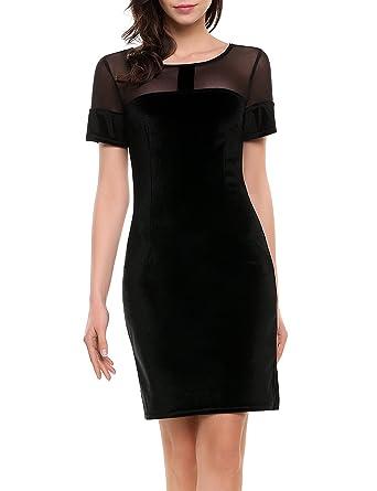 bdee843996886 ACEVOG Women's Velvet Short Sleeves Hollow Neck Sheath Bodycon Midi  Cocktail Party Dress
