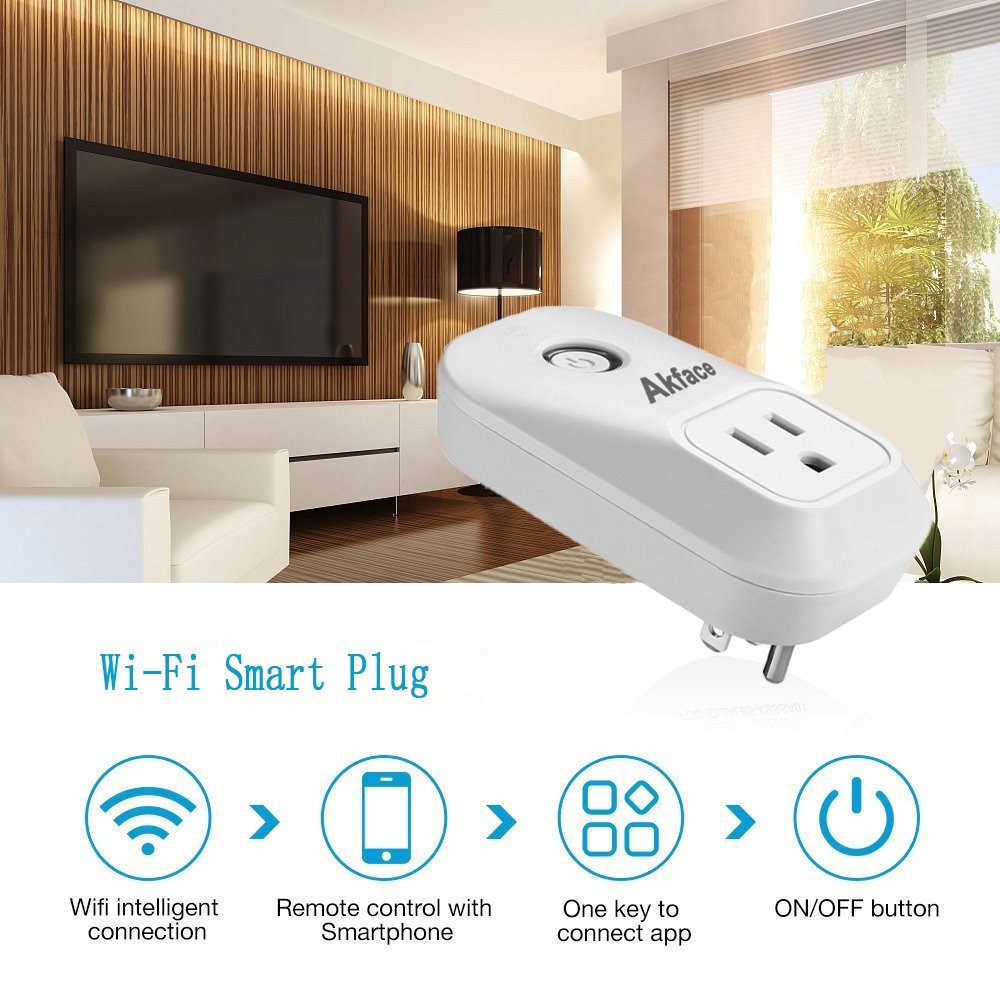 Akface Smart Power Plug Surge Protector, Wi-Fi Power Strip Socket, Compatible with Amazon Alexa Echo/Google Home, Enable Remote Control of Normal Electric Appliances via iPhone iPad Samsung and More by akface (Image #1)