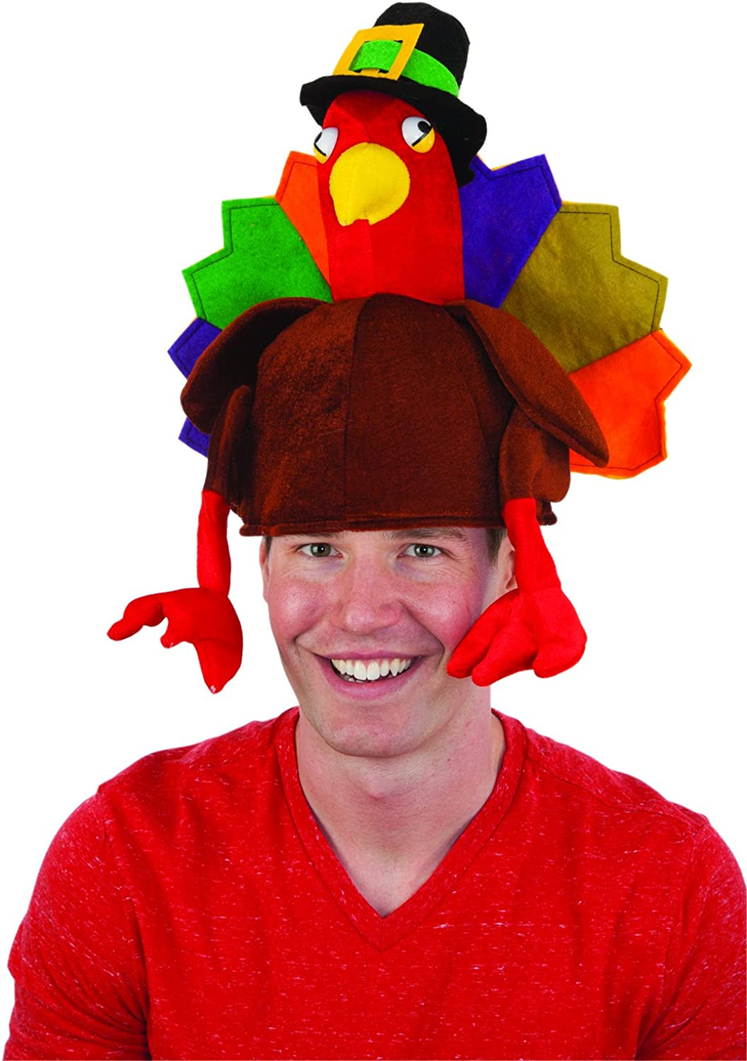 Stuffed Turkey Hat Adult Mens Smiffys Fancy Dress Costume Hat