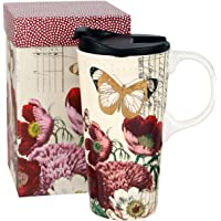 Topadorn Tall Ceramic Travel Mug 17 oz. Sealed Lid With Gift Box