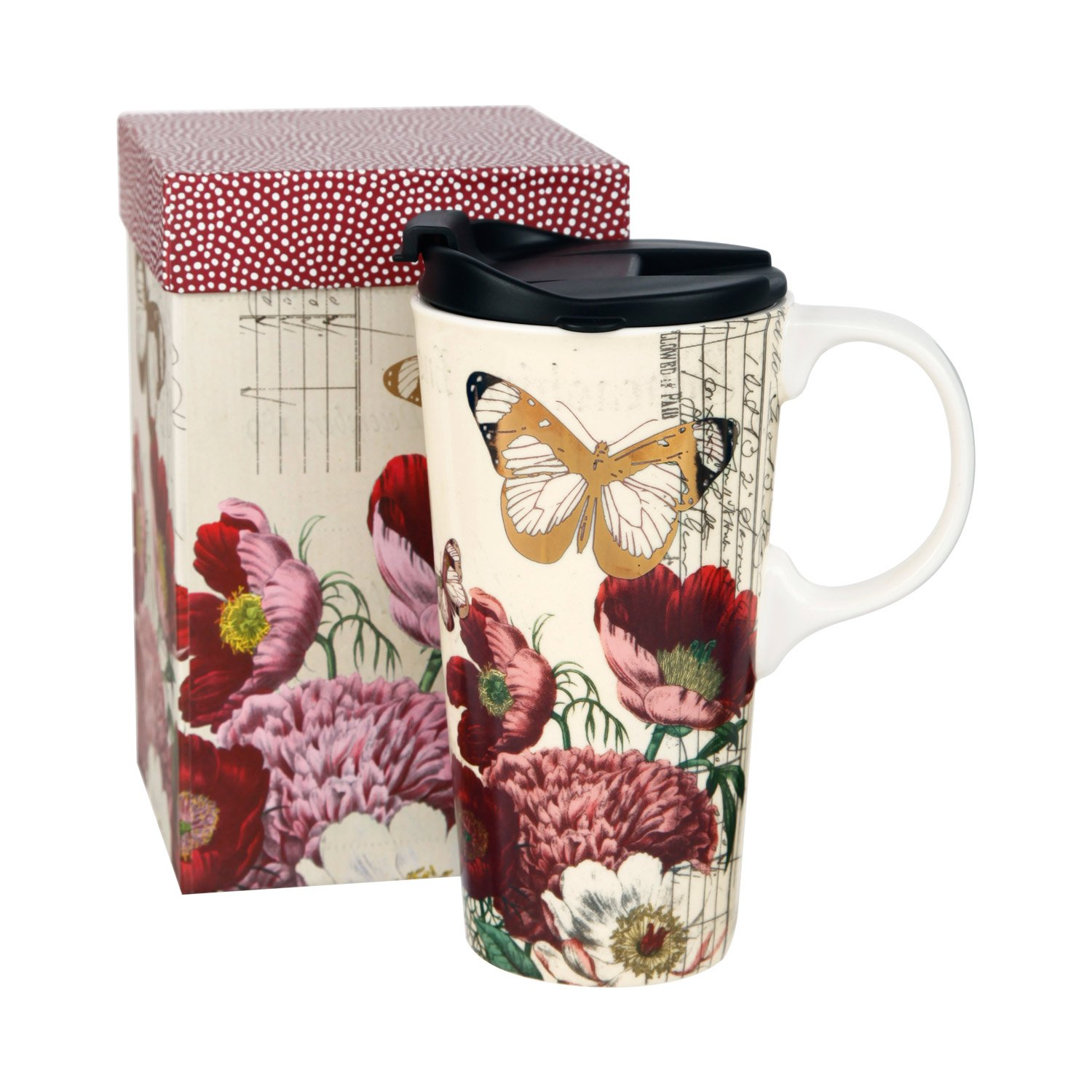 17 OZ Ceramic Mug Travel Cup with Handle and Gift Box Red Flower and Butterfly