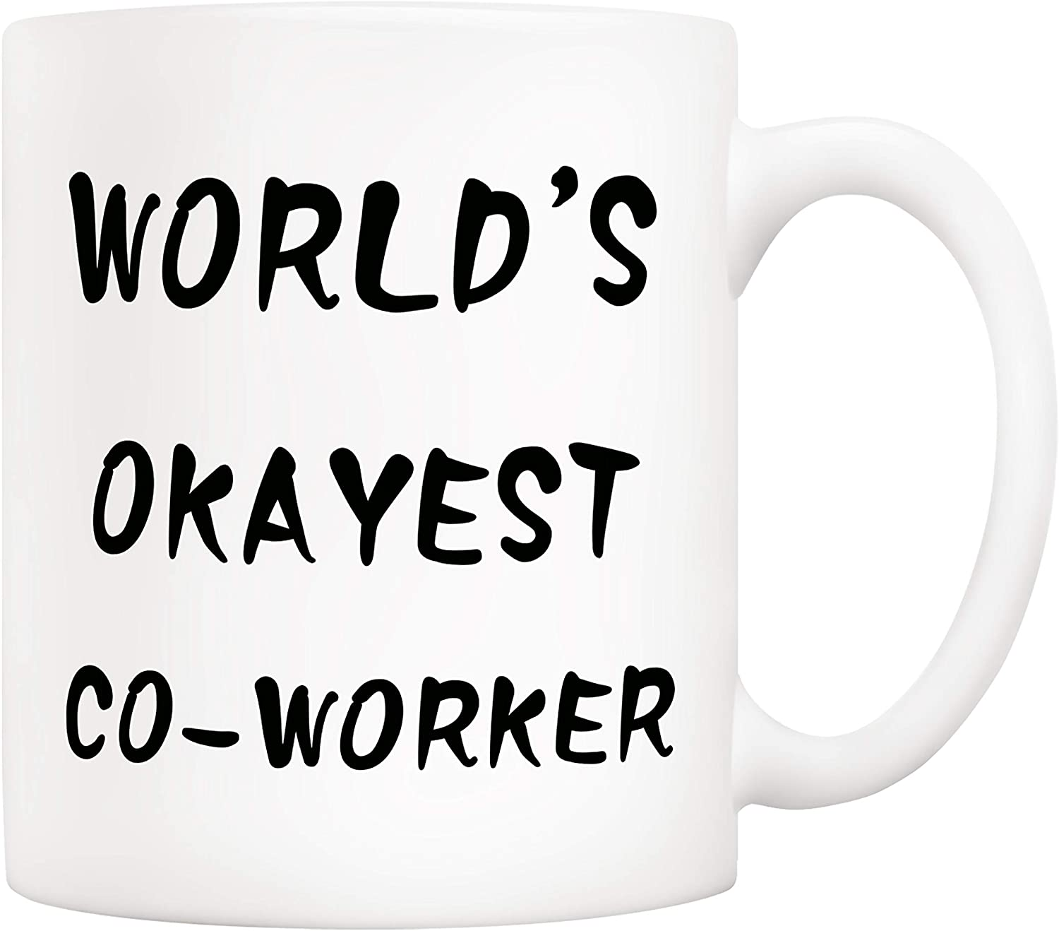 5Aup Christmas Gifts Funny Coworker Coffee Mug, World's Okayest Co-worker Novelty Ceramic Cups 11Oz, Unique Office Gifts for Coworker Friend Colleague