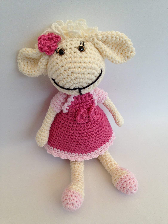 Muñeca ovejita amigurumi en rosa para niños y mayores,Hecha a mano.