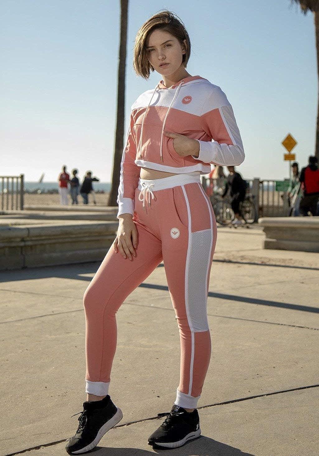 Pullover Sweatshirt Flex-N-Flex Womens Long Sleeve Sweatshirt Crop Top Hoodie