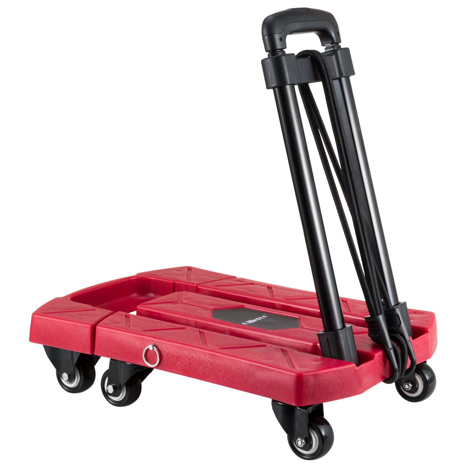 Ollieroo Cart Compact Personal Folding Hand Truck Luggage Cart with 6 wheels and Free Rope, 440 Lb Capacity Red