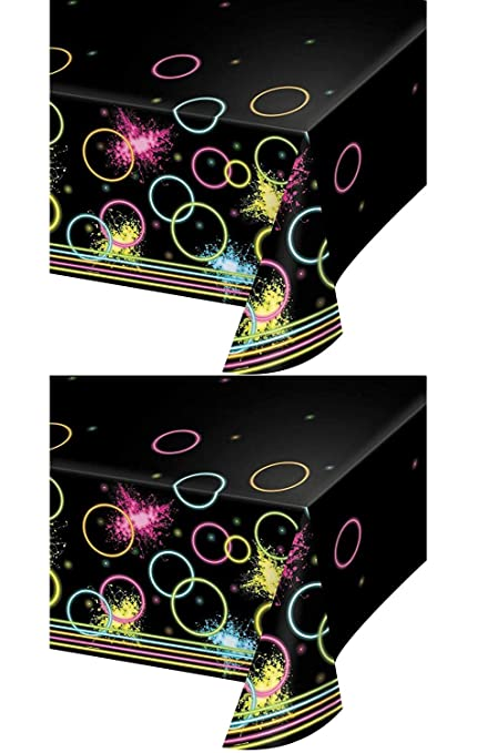 Amazon Com Glow Party Blacklight Plastic Table Covers Pack Of 2