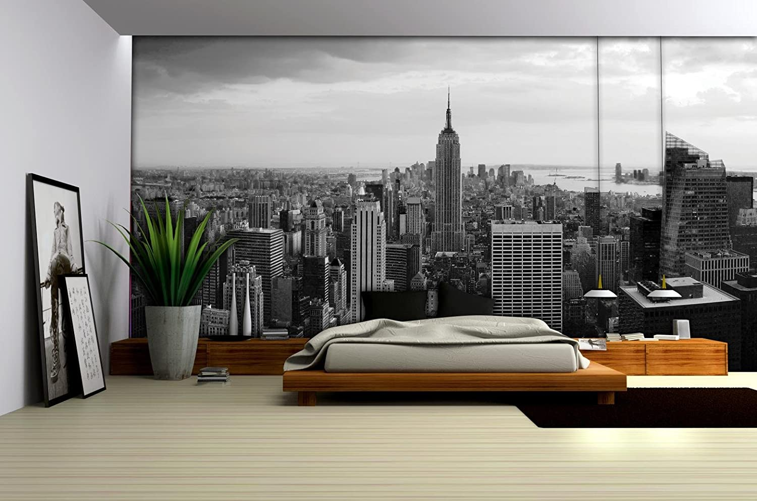 New York City Skyline Black And White Wallpaper Mural Amazon Com