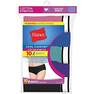 fc265428f632 Hanes Women's 10-Pack Cool Comfort Cotton Stretch Briefs (6/M) at Amazon  Women's Clothing store: