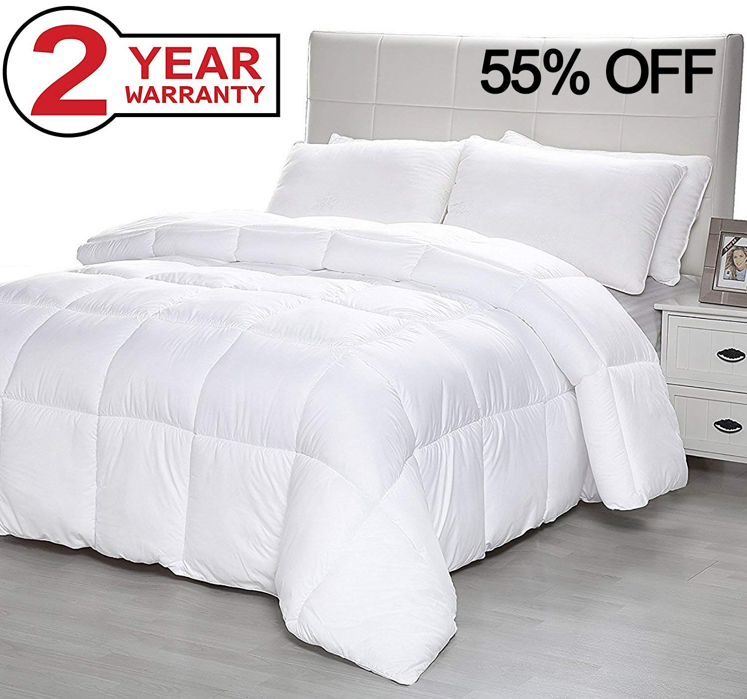 Down Alternative Comforter Duvet Plush Microfiber Fill Duvet Insert, Lightweight for All Season, Premium Hotel Quality - Machine Washable by The Duck and Goose Co - King Lekeez BED-QT-86x102