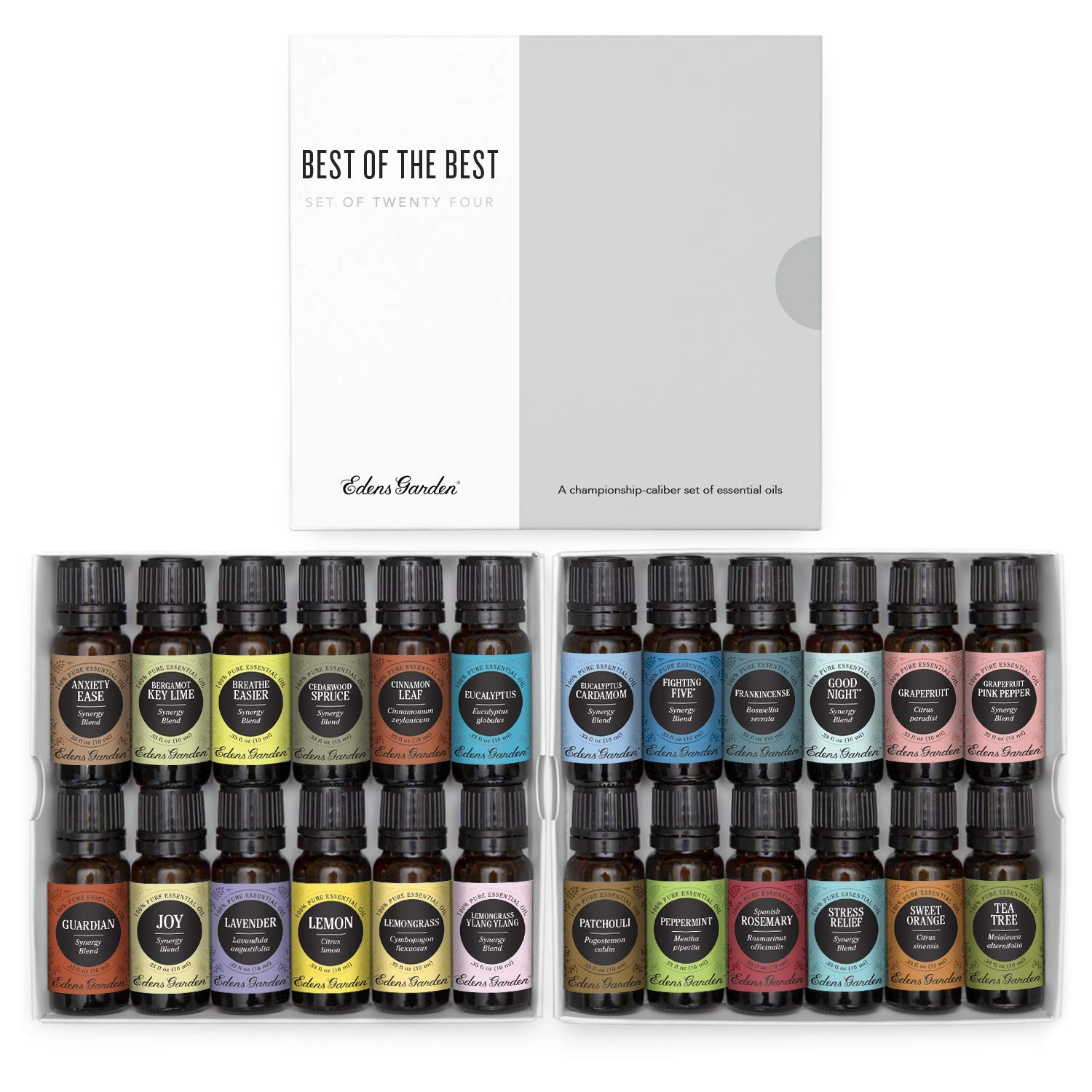 Edens Garden Best Of The Best Essential Oil 24 Set, Best 100% Pure Aromatherapy Beginners Kit (For Diffuser & Therapeutic Use), 10 ml